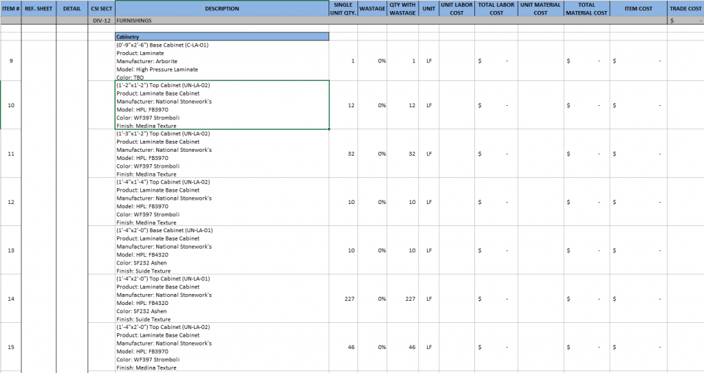 Millwork Excel