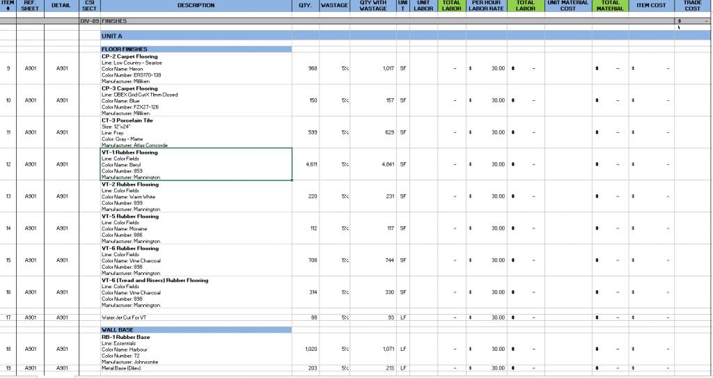 Flooring Excel